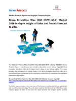 Micro Crystalline Wax (CAS 63231-60-7) Market 2016 In-depth Insight of Sales and Trends Forecast to 2021