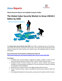 The Global Cyber Security Market to Grow US$18.5 billion by 2026