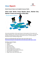 China Solar Water Pump Market Share, Market Size, Market Trends and Analysis 2016-2021