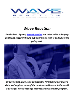 Wave Reaction : Returnable Container Management