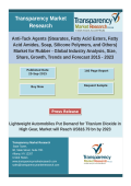 Anti-tack agents market for rubber was valued at US$306.5 mn in 2014 and is anticipated to reach US$437.9 mn by 2023, expanding at a CAGR of 4.1% between 2015 and 2023