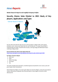 Security Alarms Sales Market to 2021 Study of Key players, Applications and Types