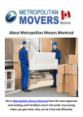 Metropolitan Movers in Montreal, QC