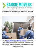 Barrie Movers : Local Moving Company in Barrie, ON