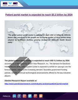 Patient Portal Market Is Expected To Grow At A CAGR Of 17.94 % From 2016 To 2024: Grand View Research, Inc.