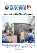 Metropolitan Moving Company in Vancouver, BC