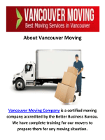 Moving Company in Vancouver, BC