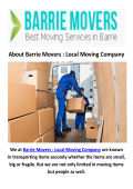 Barrie Movers : Local Moving Company