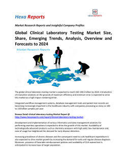 Global Clinical Laboratory Testing Market Size, Share, Emerging Trends, Analysis, Overview and Forecasts to 2024