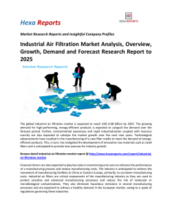 Industrial Air Filtration Market Analysis, Overview, Growth, Demand and Forecast Research Report to 2025