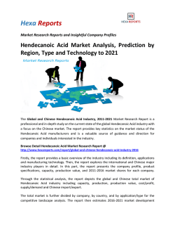 Hendecanoic Acid Market Analysis, Prediction by Region, Type and Technology to 2021