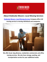Etobicoke Movers : Local Moving Services