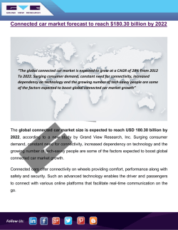 Connected Car Market To Witness Growth Owing To Rising Demand In Automobile Manufacturing Industry Till 2022: Grand View Research, Inc.