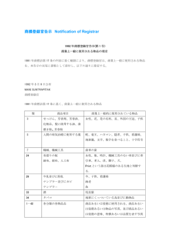 商標登録官告示 Notification of Registrar