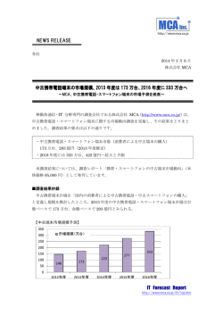 IT Forecast Report NEWS RELEASE 中古携帯電話端末の市場規模