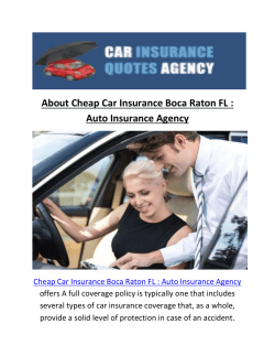 Cheap Car Insurance In Boca Raton FL