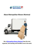 Metropolitan Moving Company in Montreal, QC