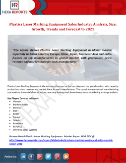 Plastics Laser Marking Equipment Sales Industry Analysis, Size, Growth, Trends and Forecast to 2021