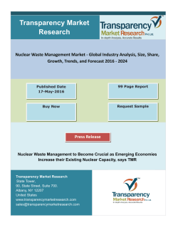 Nuclear Waste Management Market - Global Industry Analysis, Size, Share, Growth, Trends, and Forecast 2016 – 2024