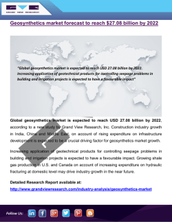 Geosynthetic Market Size Was 6,124.0 Million Square Meters In 2014 And Is Expected To Reach Above 9,000.0 Million Square Meters By 2022: Grand View Research, Inc.