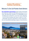 One Call Plumbers Santa Barbara, California (805) 364-6337