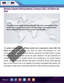 Wireless Gigabit Market To Represent USD 7.42 Billion Opportunity Globally by 2024: Grand View Research, Inc.