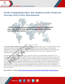 Powder Coating Market Growth, Regional Outlook and Forecasts to 2024: Hexa Research