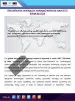 Anti-Reflective Coatings Market To Gain From Rising Usage In Automotive And Construction Applications Till 2025: Grand View Research, Inc.