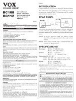 BC108/BC112 Owner`s Manual