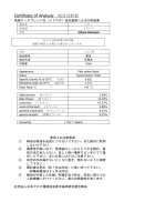 Certificate of Analysis 成分分析表