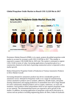 Propylene Oxide Market to Value US$ 20,000 Million By 2025