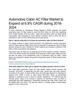 Automotive Cabin Ac Filter Market Expected To Value US$ 3,738.2 Million By 2024