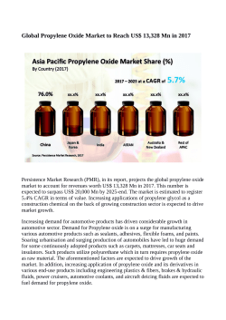 Propylene Oxide Market Expected to Value US$ 20,000 Million By 2025