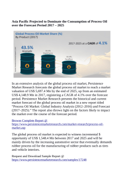 Process Oil MarketProcess Oil Market Anticipated to Reach US$ 5,697.4 Million By 2025