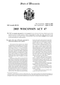 Full Text of the 'Woznicki Fix' (2003 Wisconsin Act 47)