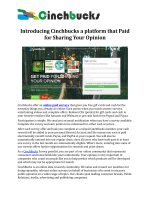Introducing Cinchbucks a platform that Paid for Sharing Your Opinion