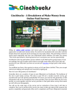 Cinchbucks - a Breakdown of Make Money from Paid Online Surveys