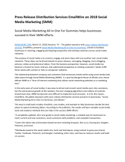 Press Release Distribution Services EmailWire on 2018 Social Media Marketing (SMM)
