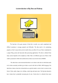 An introduction to Big Data and Hadoop