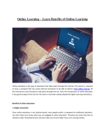 Online Learning – Learn Benefits of Online Learning