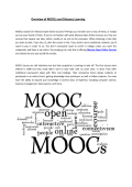 Overview of MOOCs and Distance Learning
