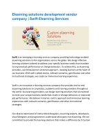 Elearning solutions development vendor company | Swift Elearning Services