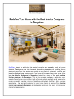 Redefine Your Home with the Best Interior Designers in Bangalore