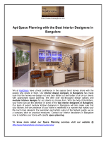 Apt Space Planning with the Best Interior Designers in Bangalore