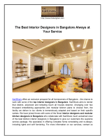 The Best Interior Designers in Bangalore Always at Your Service