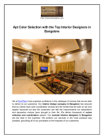 Apt Color Selection with the Top Interior Designers in Bangalore