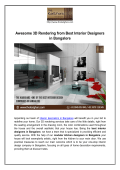 Awesome 3D Rendering from Best Interior Designers in Bangalore