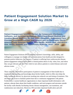 Patient Engagement Solution Market Expansion to be Persistent During 2018 – 2026