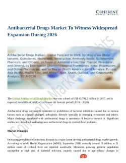 Antibacterial Drugs Market Is Expected To Have The Highest Growth Rate During The Forecast Period 2026