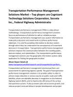 Transportation Performance Management Solutions Market